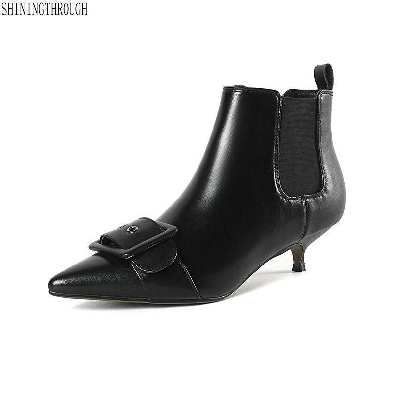 Nouveau cuir de vache boucle talons bas femmes bottines bureau dames robe chaussures sexy automne bottes femme taille 41 42 43
