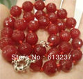 "hot free Shipping new 2014 Fashion Style diy 12mm Faceted Red jade Necklace 18"" MY5370"