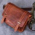 Vintage Classic Para Hombre de negocios ocasional hombro crossbody de Cuero de Vaca Natural de cuero de caballo loco bolsas de mensajero para hombre