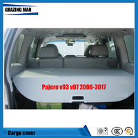 For Pajero V93 V97 2006 2017 NylonPolyester Rear Trunk Security Shield Cargo Cover High Qualit Auto Accessories Black Beige Grey