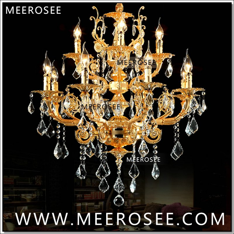 Modern Luxury 12 Arms Crystal Chandelier Lamp Gold Suspension Lustre Crystal Light for Foyer Lobby MD8857 L8+4 D750mm H750mm|crystal chandelier lamp|12 arm crystal chandelier|chandelier lamp - title=