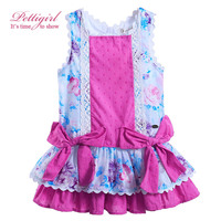 Pettigirl 2017 Hot Sale 100% Cotton Bontique Floral Baby Girls Dress With Bowknot Adorable Summer Kid Clothes G-DMGD905-787