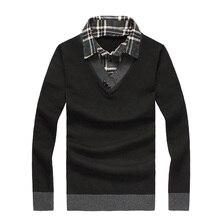 2016 neue Herbst Beiläufigen Dünnen männer Pullover drehen-unten Kragen Gefälschte Zweiteilige Kopf Pullover Männer Pullover LQ534