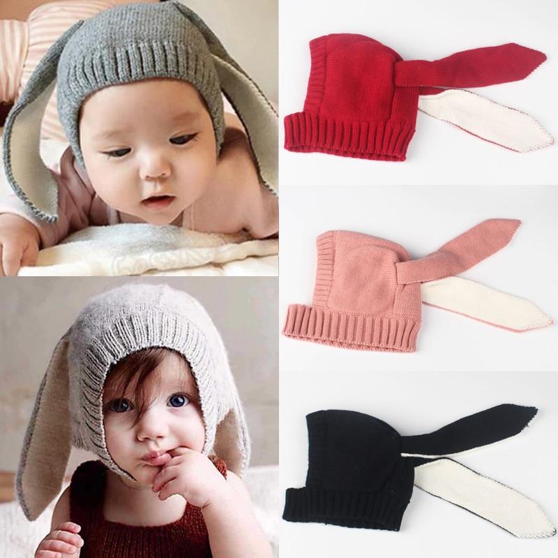 LNRRABC Newborn Baby Boy/Girls Rabbit Ear Winter Woolen Knitted Beanie Hat Version Casual Cap lnrrabc winter skullies