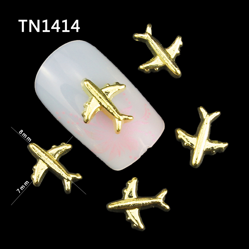 20pcs 3d Aircraft Nails Glitter Diy Airplane Nail Art Decorations