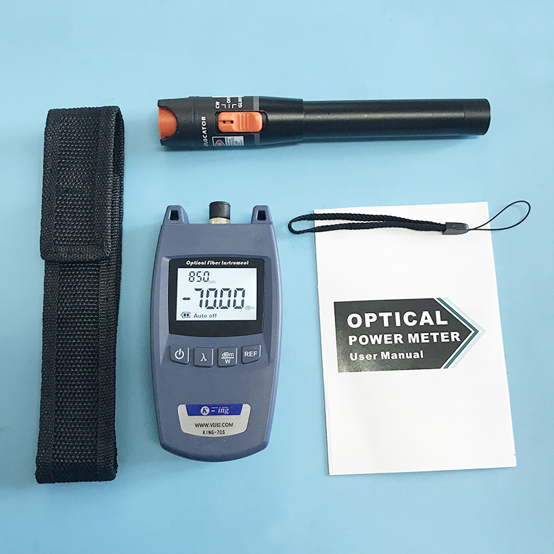 2 In 1 FTTH Fiber Optic Tool Kit King-70S Optical Power Meter -70 to +10dBm and 10mW Visual Fault Locator Fiber optic test pen