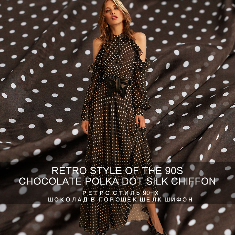 Pearlsilk 5momme light and thin silk chiffon dots printed 100 mulberry silk summer dress DIY clothes