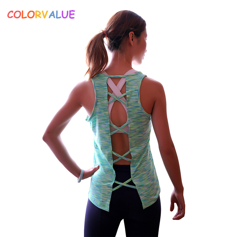 Colorvalue Quick Dry Training Fitness Vest Women Back Cross Jogger Yoga Tank Top O-neck Loose Sport Exercise T-shirt Sleeveless