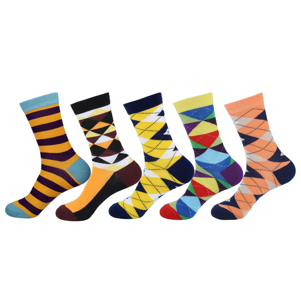 Fashion 5 Pairs/lot Mens Cotton Socks Long High Quality Diamond Argyle Socks Colorful Mens Dress Socks 39-44