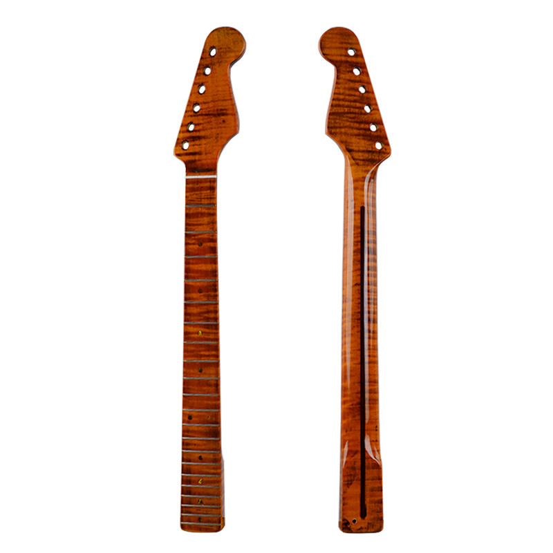 21Frets One Pieces Tiger Flame Material Maple Glossy Yellow Paint Electric Guitar Neck Wholesale Guitar Accessories Parts