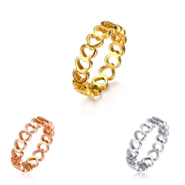 Women Gender Hollow Out Stereoscopic Heart Ring Custom Gold