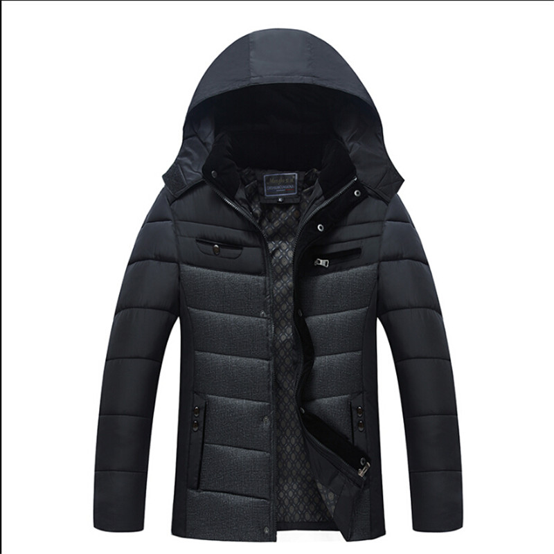 ФОТО Patchwork Men Winter Parka Thicken Warm Stand Collar Men'S Winter Jackets Winter Male Jacket Loose Parkas Coat A2702