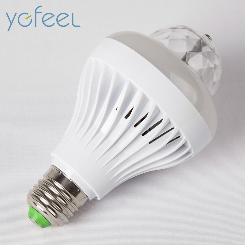 [YGFEEL] Festival Decoration LED Bulbs 5W Cool White + 3W RGB Auto Rotating Stage Light E27 AC220V PUB Energy aving LED Lamp
