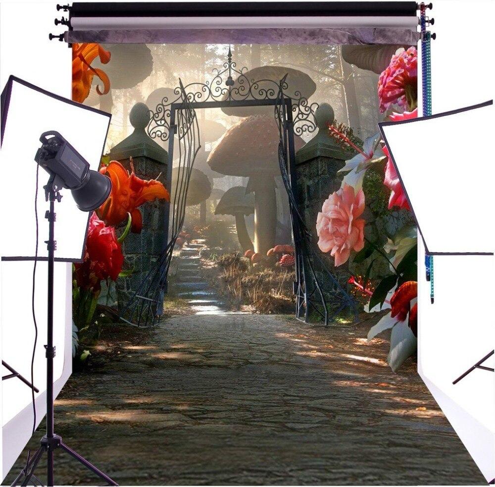 Capisco Fantasy Fairy Tale Wonderland Flowers Garden Arch Gate Mushroom Path Custom Photo Studio Backdrop Backgrounds Vinyl
