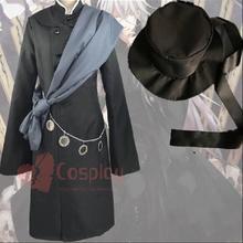 Черный Дворецкий Гробовщик Косплей Костюм Упаковка включает: пальто+ куртка+ шляпа+ накидка+ ожерелье