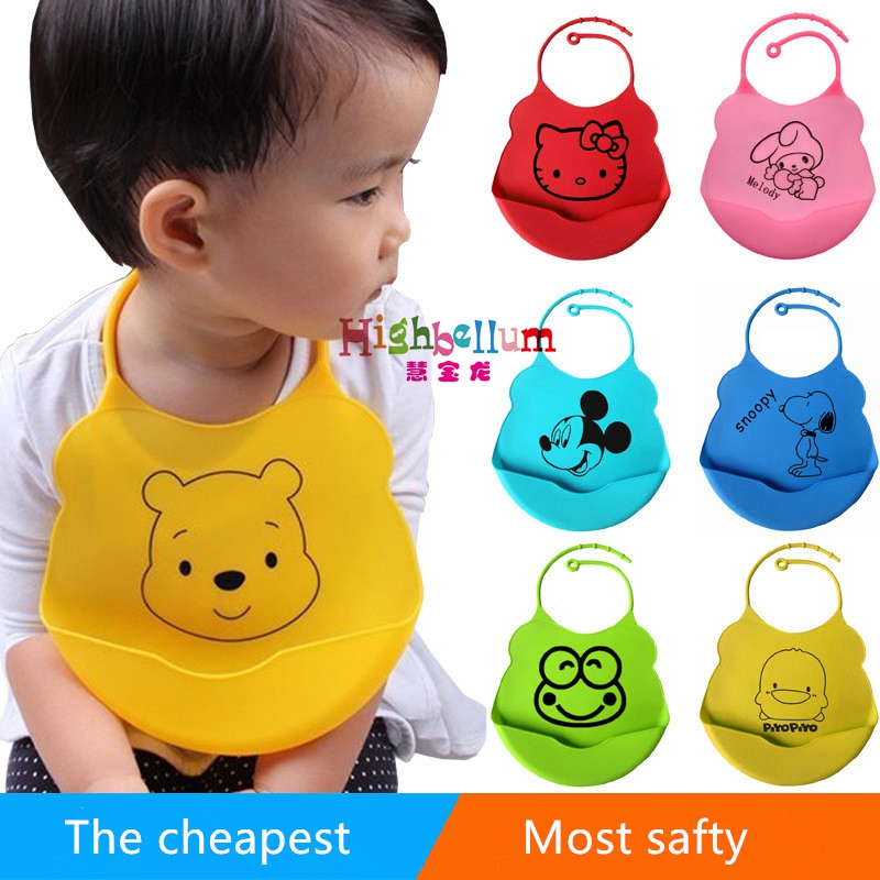 18colors new design Baby bibs waterproof silicone feeding baby saliva towel newborn cartoon waterproof aprons Baby