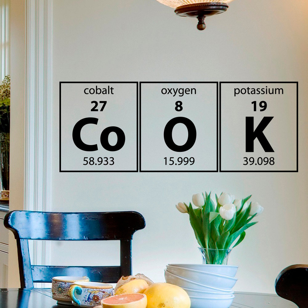 Cook Wall Decal Periodic Table Elements Science Vinyl Lettering Art Kitchen Decals Stickers Family Home Decor J938 In From