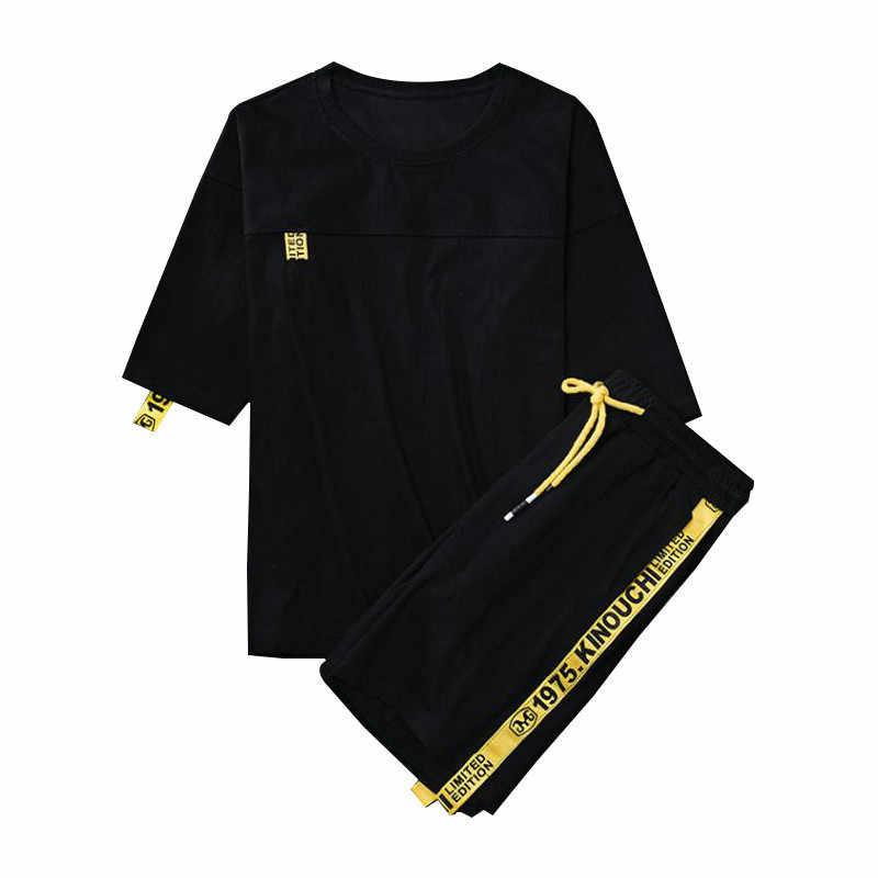 ブランド男性のトラックスーツ夏セット半袖 Tシャツヒップホップトップス + パンツスーツスポーツセット男性の服セット男性
