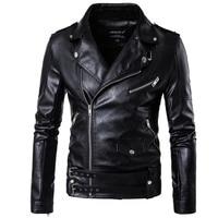 Autumn and winter new moto biker leather jacket men's Faux jacket large size multi pocket zipper decoration Slim coat black