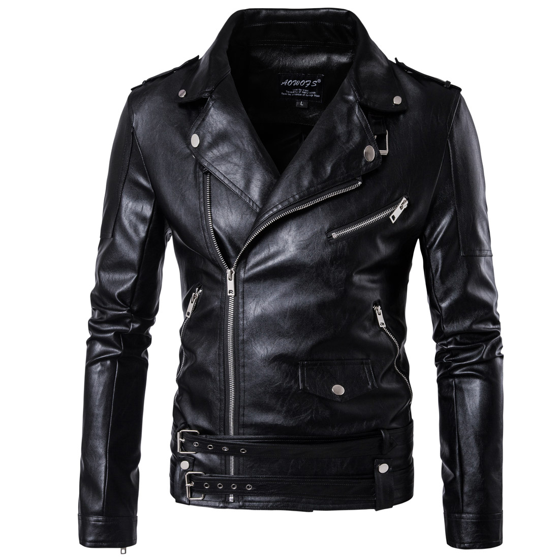 Autumn and winter new moto biker leather jacket men's Faux jacket large size multi pocket zipper decoration Slim coat black oblique zipper faux leather biker jacket