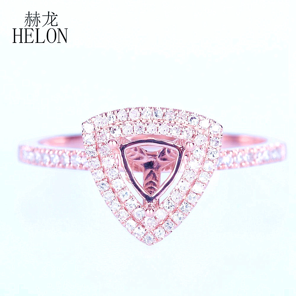 HELON Trillion Cut 5mm Solid 14K (AU585) Rose Gold 0.2CT Natural Diamonds Engagement Wedding Anniversary Semi Mount Ring SettingHELON Trillion Cut 5mm Solid 14K (AU585) Rose Gold 0.2CT Natural Diamonds Engagement Wedding Anniversary Semi Mount Ring Setting