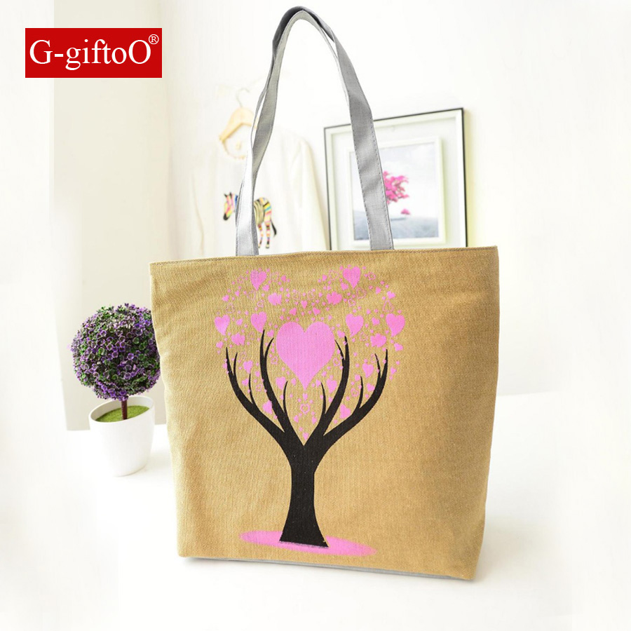 Folding Big Size Handbag Tote Ladies Tree Printing Canvas Graffiti Shoulder Bag Beach Bolsa Feminina