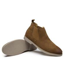 Замшевые ковбойские ботинки Для мужчин на низком каблуке осень Для мужчин S Ботинки Челси скольжения Разделение кожа мужские полусапоги bota masculina стрейч febric