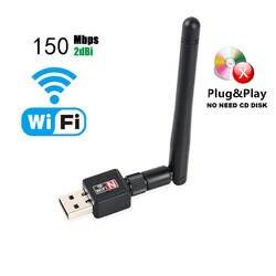 Мини сетевой карты Беспроводной USB Wi-Fi 150 Мбит 2dBi Wifi адаптер для планшетных Wi Fi Телевизионные антенны 802.11 г/B /N компьютерной сети сетевой