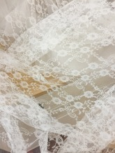 5 yards off white daisy floral embroidery lace fabric , soft and flowy doll dress baby cloth lace fabric, bridal fabric lace mesh checkered flowy dress