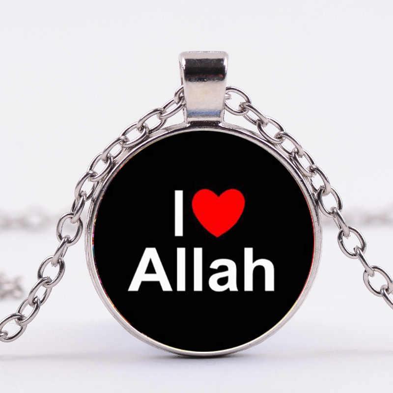Азиатских Арабский исламский мусульманский Аллах Шарм Цепочки и ожерелья однотонные Цвет (символ 3D печатных Стекло драгоценный кулон Цепочки и ожерелья религиозное Ювелирное Украшение