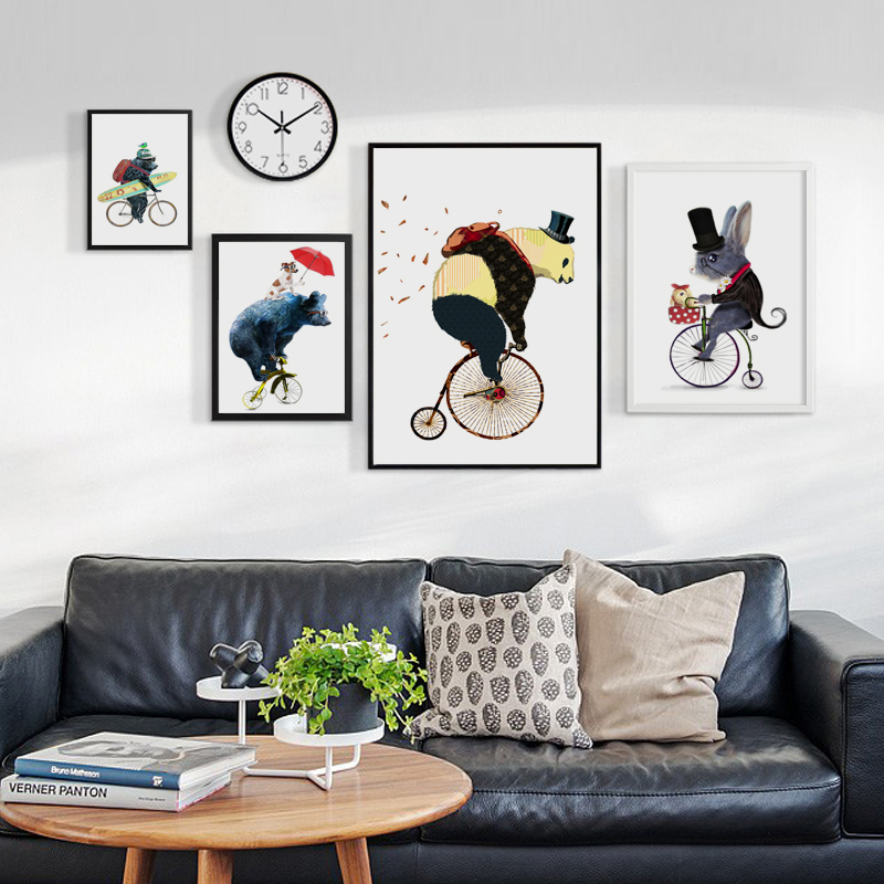 Nordic Cute Cycling Animal Bear Mouse A2 A3 A4 Children Room Canvas Abstract Print Poster Picture Wall Baby Bedroom Home Decor