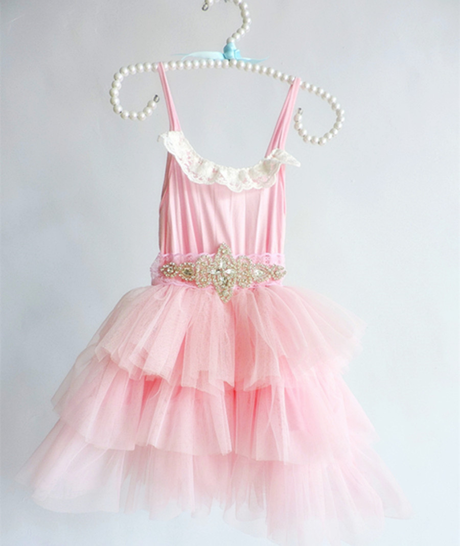 39ebda3c7cb Princess Girls Lace Tutu Pink Dress Crystal Belts Halter Holiday Party Dress  For 2 7 Years Old Children Wholesale 5pcs lot-in Dresses from Mother   Kids  on ...
