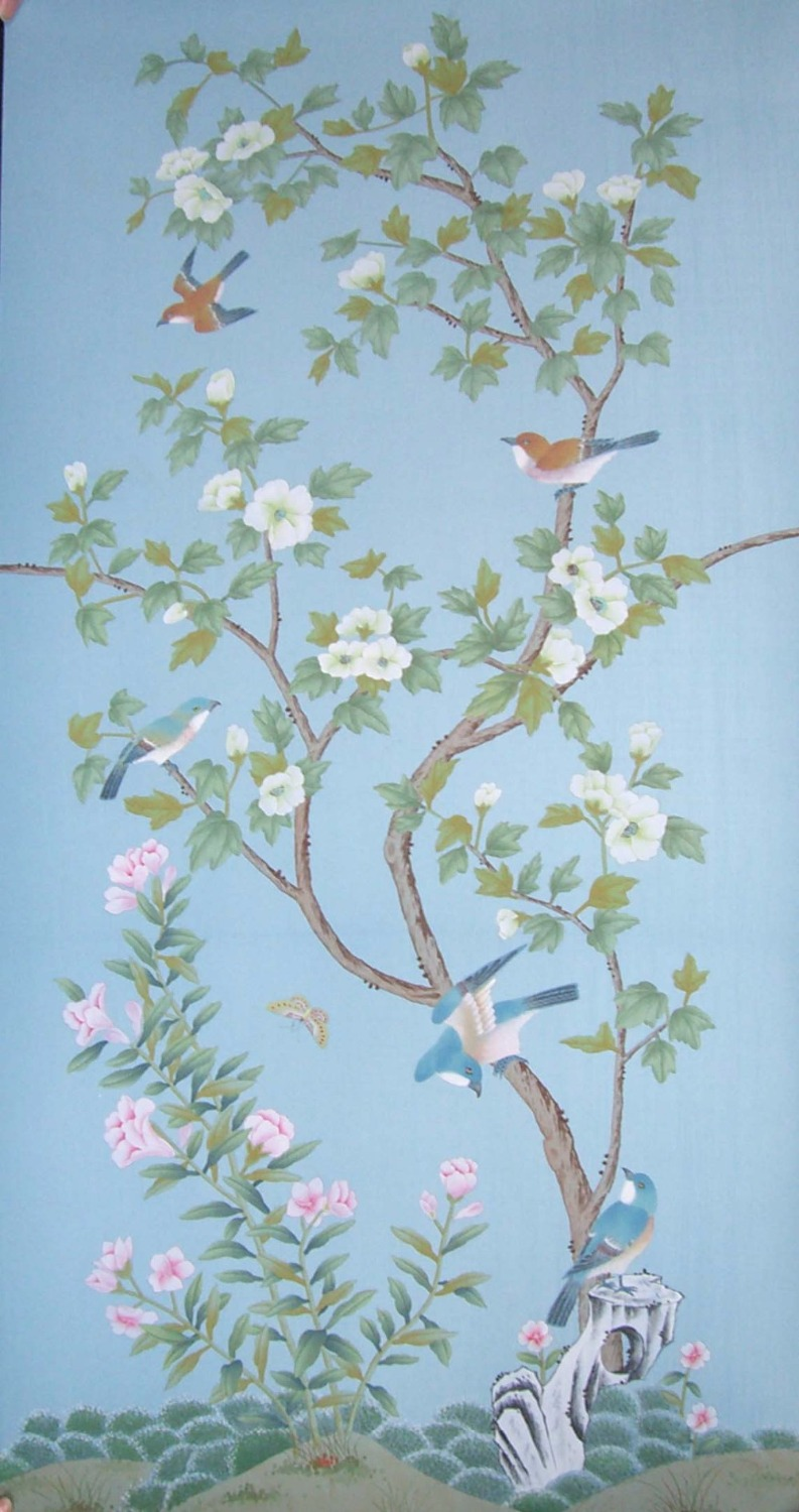 Hand painted wallpaper Customized painting flowers with birds and fence hand painted wall paper many color/backgrounds optional