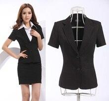 Nueva elegante negro más el tamaño delgado de moda Formal Blazers Feminino uniformes 2015 Summer Work Wear primavera Blazers chaquetas Blaser