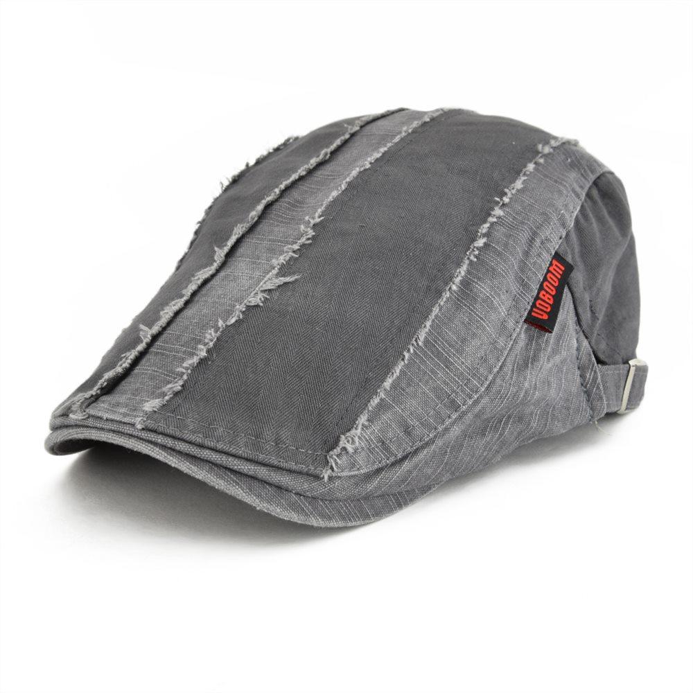 VOBOOM Grey Distressed Cotton Flat Cap Men's Golf Newsboy Caps Retro Baker Boy Hat Male Gatsby Driver Cabbies Beret Boina 101