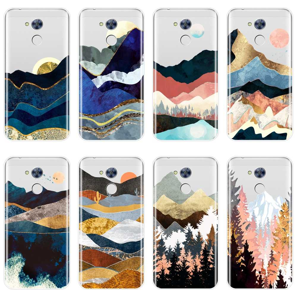 Case For Huawei Honor 4X 5A 5X 6 6X Silicone Soft Mountain Marble Moon Back Cover For Huawei Honor 6A 4C 5C 6C Pro Phone Case