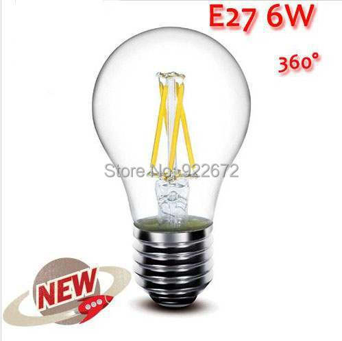 1PCS/LOT  High Power E27 2W 4W 6W 8W  Chips LED Bulb Light Lamps Glass Globe Lamp Edison Filament bulb Warm White 110V-240V