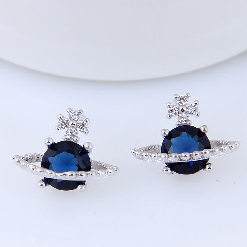 Nouveau bleu zircone pierre saturne étoile boucles d'oreilles cuivre matériel argent aiguille femmes fille boucles d'oreilles