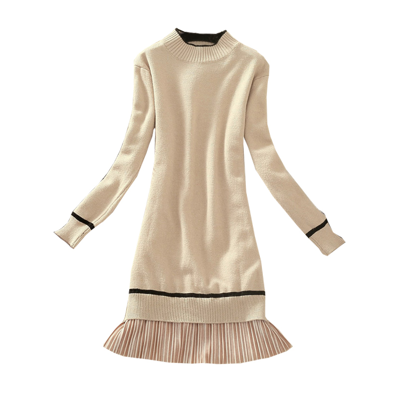 2018 Autumn Winter Long Sleeved Knit Dress Female Sweet Long Sweater Dress Stitching Thin Bottoming Pullovers Women Z367