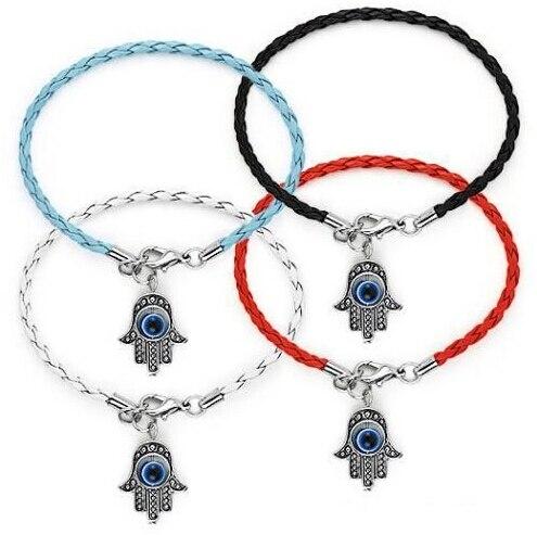 Fashion Summer style Hamsa Fatima EVIL EYE Braided leather cord Bracelet Good Luck Bangle&Bracelet For Women DIY Jewelry A24
