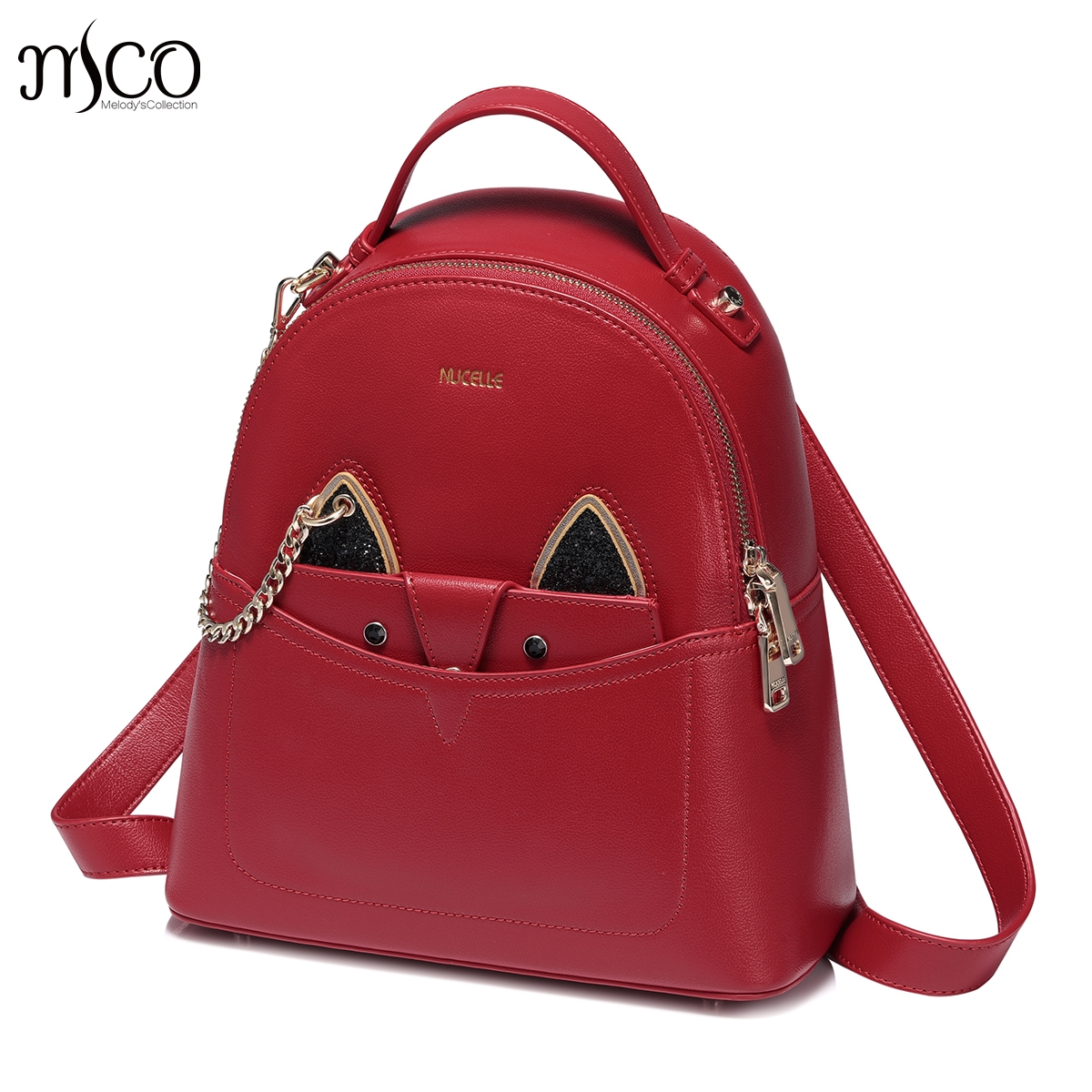 Nucelle Women Cat Backpack High Quality PU Leather Mochila Escolar School Bags For Teenagers Girls hidden Purse Backpacks set fashion women backpack high quality pu leather mochila escolar school bags for teenagers girls top handle backpacks