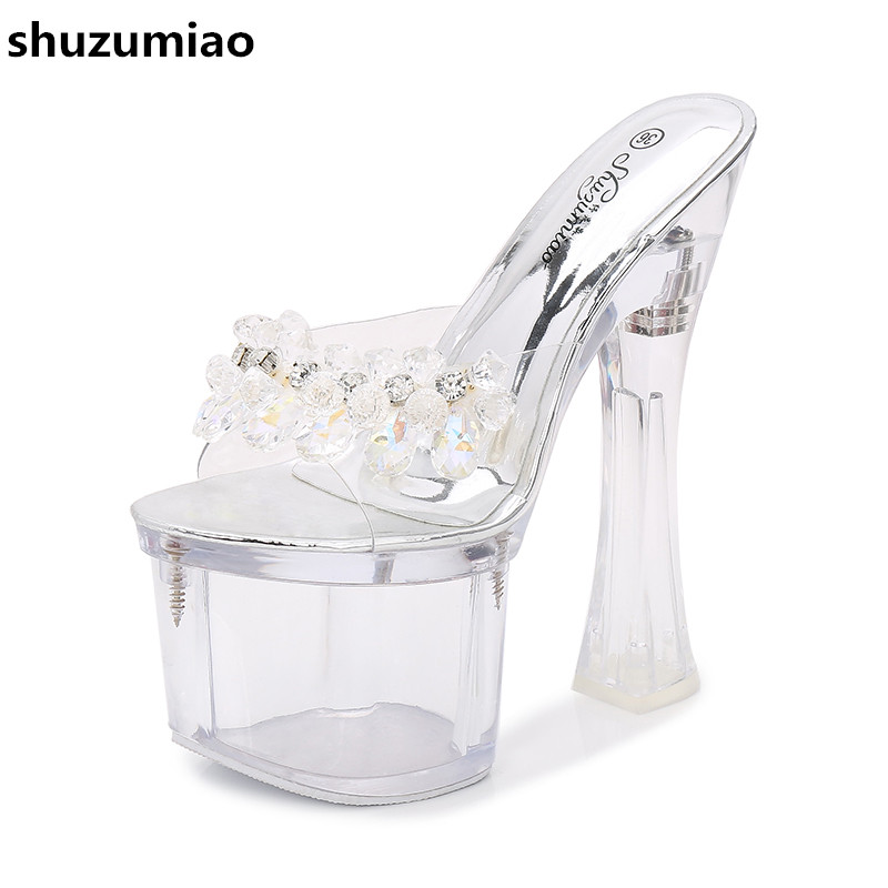 Transparent Heel Rhinestone Sandals Women Shoes Fashion Extreme High Heels 17CM Casual Platform Shoes Woman Pumps Summer Shoes rhinestone sandals summer shoes women pumps transparent womens shoes heels strappy heels ladies shoes