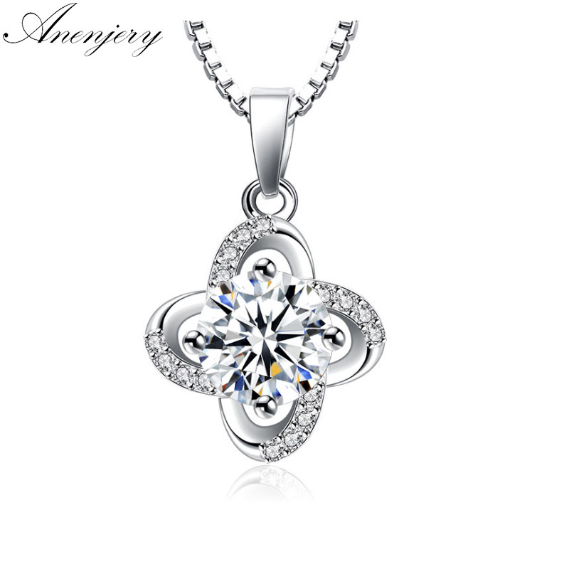 Anenjery 925 Sterling Silver Zircon Clover Flower Twist Windmill Forever Pendant Neckace 45cm Box Chain collares Gift S-N122