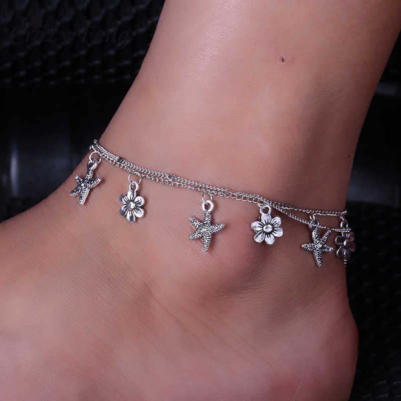 Boho ดอกไม้ดาว Anklets สำหรับผู้หญิง 2018 หลายชั้นปลาดาวกำไลข้อเท้าขาโบฮีเมียนเท้า Ocean เครื่องประดับ