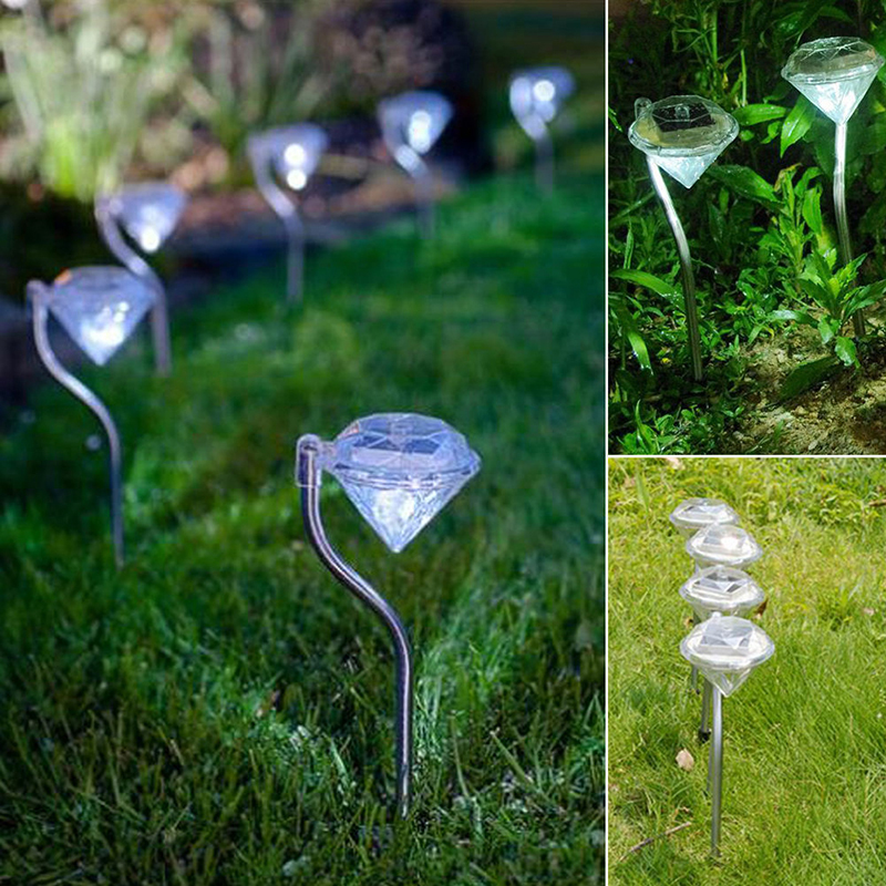 1PC Solar Lawn Light Garden Pathway Decoration Outdoor Stainless Steel Solar Powered Diamond Stake Lights LED Solar Lamp Lantern