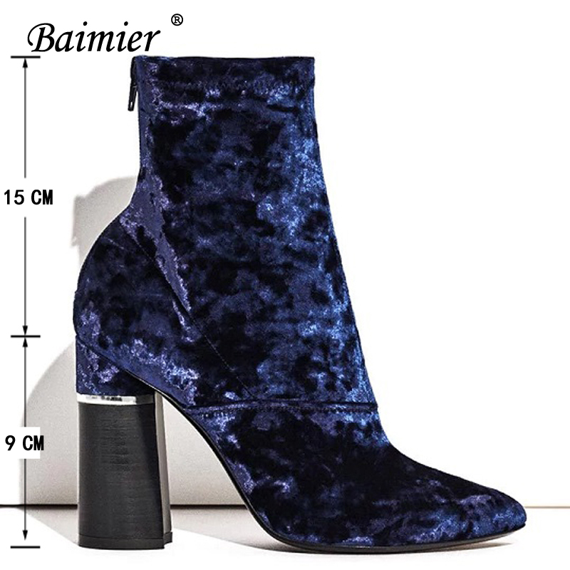 Baimier Winter Velvet Ankle Boots For Women Chunky Heel Women Sock Boots Pointed Toe High Heels Boots Women Luxury Shoes Woman 5