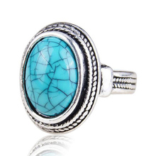 Classic Jewelry Vintage Look Tibetan Alloy Antique Silver Plated Personality Oval Simulated Turquoise Ring anillos LYR113