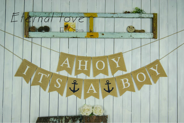 ahoy its a boy burlap banner nautical baby shower decor pregnancy announcement banner