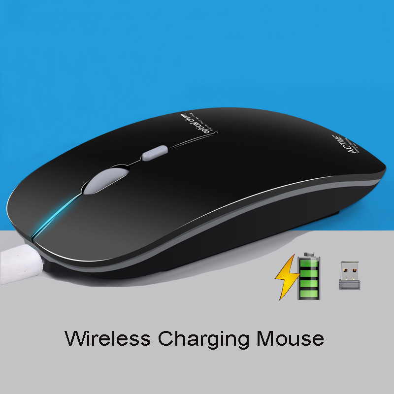 Fashion Rechargeable Wireless Mouse Ultra thin Mute Optical Slient Mouse Slim Quick Charging for Laptop PC Computer