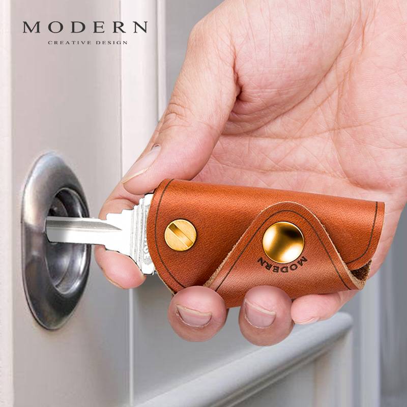 Modern - Brand 100% Genuine Leather Smart Key Wallet DIY Keychain EDC Mini Pocket Car Key Holder Key Organizer Holder
